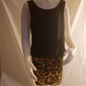 Adrianna Papell sequin  blouson black/gold dress